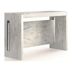 ERIKA White Carrara Melamine Extendable Console, Dining Table by Casabianca Home