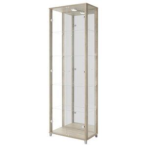 Vitrine Display Cabinet With LED, 2 Door, 4 Shelves, Walnut