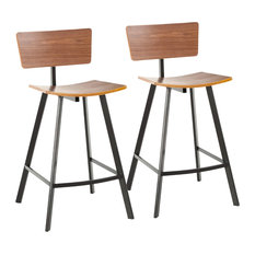 LumiSource Rocco Counter Stool Black Metal And Walnut Wood Set Of 2