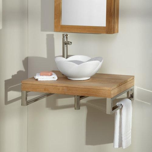 "30"" POMOMA TEAK WALL-MOUNT VANITY - Bathroom Vanities And Sink Consoles"