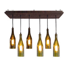 5 Wine Bottle Chandelier, Dark Walnut Base, Led Bulbs, Suspended
