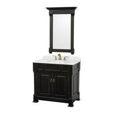 """Wyndham Collection 36"""" andover Single Sink Bathroom Vanity Set, Antique Black"""