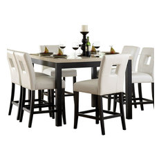 HomeleganceLA, Inc   Homelegance Archstone 7 Piece Counter Height Dining  Room Set With White Chairs