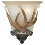 Vaxcel - Yoho 1 Light Bronze Rustic Antler Flush Wall Sconce Cream Glass - Evoking the spirit of the wilderness, this rustic themed light is clad in a black walnut finish and features creme cognac glass. It will complement a variety of home styles bringing an element of nature indoors. The Yoho collection features reproduction deer antlers making it a great choice for a vacation lodge, cabin or suburban homes. This wall sconce is ideal for bathrooms, hallways, stairways, and foyers.