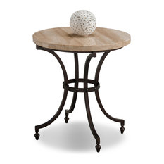 Leick Furniture - Round Travertine Stone Top Side Table with Rubbed Bronze Metal Base - Table Tops A