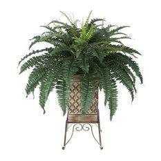 Artificial Fern in Tan Small Planter Stand