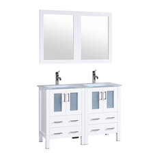 Bosconi Double Vanity, White, 48""