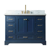 """48"""" Solid Wood Sink Vanity Without Faucet, Blue"""