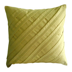 Yellow Textured Pintucks 26x26 Faux Suede Euro Shams, Contemporary Maple Butter