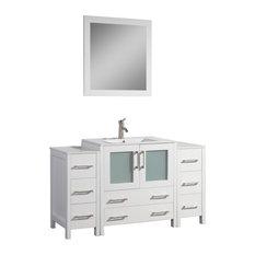 """Vanity Art Single-Sink Vanity Set With Ceramic Top, 54"""", White"""