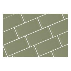 "Green Metro Subway Jade Glass Tile, 3""x6"" Tiles, Set of 80"