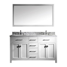 "Virtu Caroline 60"" Double Bathroom Vanity, White With Marble Top, With Mirror"