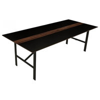 "86.5"" L Dining Table Black MDF Solid Walnut Wood Accent Blackened Metal Base"