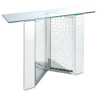 Acme Nysa Console Table With Mirrored And Faux Crystals Finish 90510