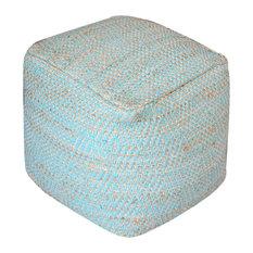 GDF Studio Ada Hand Woven Aqua Fabric Pouf