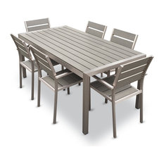 MangoHome - Outdoor Aluminum Resin 7-Piece Dining Table and Chairs Set - Outdoor Dining Sets