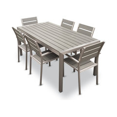Outdoor Aluminum Resin 7 Piece Dining Table And Chairs Set Contemporary Patio Furniture