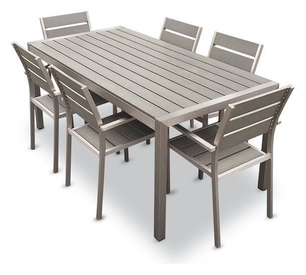 Exceptional Outdoor Aluminum Resin 7 Piece Dining Table And Chairs Set
