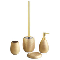 Silver Four Piece Bathroom Accessory Set