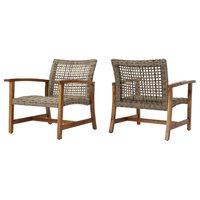 GDF Studio Savannah Outdoor Acacia Wood Frame Wicker Club Chairs, Set of 2