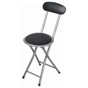 Foldable Chair, Stainless Steel, PVC With Padded Seat, Black and Silver Finish