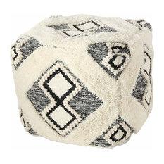 Boho Fringy Ottoman Cube Pouf
