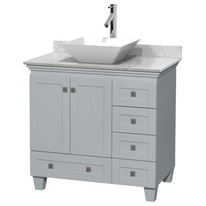 """Acclaim 36"""" Oyster Gray SGL Vanity, Carrera Marble Top, Porcelain Sink, Mirror"""