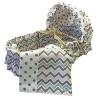 Chevron With Moses Basket, Bella Pink and Gray