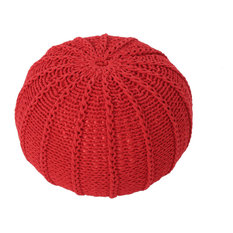 GDF Studio Agatha Knitted Cotton Pouf, Red