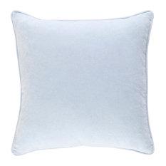 "Solid and Border Cotton Velvet Pale Blue Accent Pillow, 18""x18"""