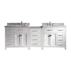 "Caroline Parkway 93"" Double Bathroom Vanity Cabinet Set, White"