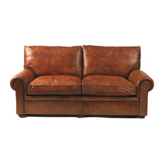 Seville Leather 2-Seater Sofa, Genuine Fur Filling