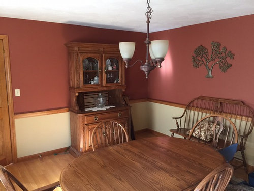 The Dining Room Starting With Paint Color Blue Lot Of OAK So Open To Ideas Happy Chair Rail And Maybe Some Furniture But Not Doors Trim