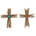 "Brimfield & May - Wood Metal Cross 2-Piece Set, 12""x15"" - Set of two 15"" Rustic Elegance wood and iron floral and bead crosses, natural-finish bundled tan oak twig crosses, brown rust-finish bundled wire inner crosses with turquoise and orange center acrylic jewels, orange, blue, yellow and green acrylic beads along wire cross sections"