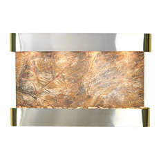 Sunrise Springs Wall Fountain, Stainless Steel, Rainforest Brown Marble, Round F