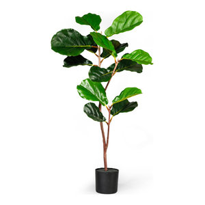 74 Dark Green Artificial Fiddle Leaf Fig Potted Tree Artificial Plants And Trees By Northlight Seasonal