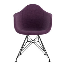 Mid Century Eiffel Arm Chair, Plum Purple