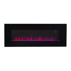 "Contemporary Electric Fireplace Black 50"" Wall Mount Heater Multicolor Flame"