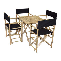 Bamboo54   Bamboo Square Table And Director Chairs 5 Piece Set, Black    Outdoor