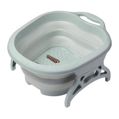 Yescom Collapsible Folding Plastic Foot Soak Basin with Massage Rollers