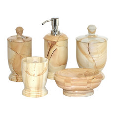 Teakwood Marble 5-Piece Bathroom Accessories Set of Atlantic Collection