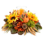 Creative Displays & Designs - Mixed floral harvest centerpiece - Fall harvest centerpiece of sunflowers, orange and green hydrangeas, green heather, and wheat with accents of pomegranates, pinecones, and berries