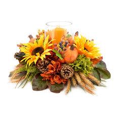 Mixed floral harvest centerpiece