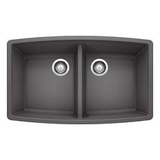"""Blanco 441473 20""""x33"""" Granite Double Undermount Kitchen Sink, Cinder"""