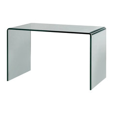 Minimalist Curved Glass Desk/Table, Small