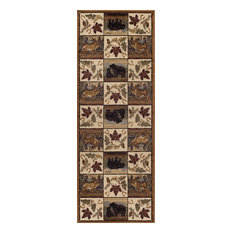 Portrait Wildlife Novelty Lodge Pattern Beige Runner Rug, 2.7' x 7'