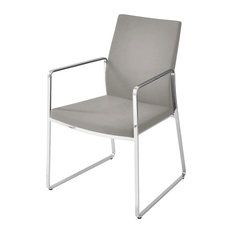 Pasha Arm Chair Stainless Steel Base Light Gray Leatherette
