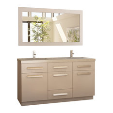 "Moscony 60"" Double Sink Vanity Set, White and Matching Mirror, White"