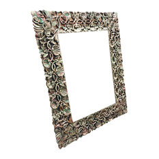 Mogul Interior - Consigned Antique Hand-Carved Hand-Painted Mirror Frame With Cherry Leaf Cluster - Wall Mirrors