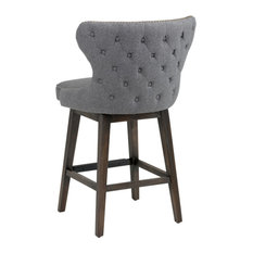 ARTeFAC - Tufted Back Swivel Stool With Brass Nail Head Trim, Dark Gray, Bar